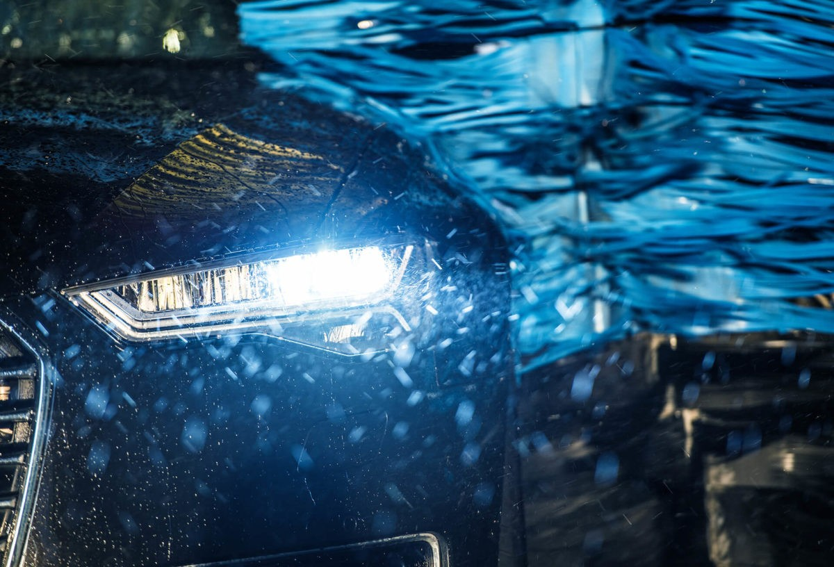 Electric vehicle in car wash